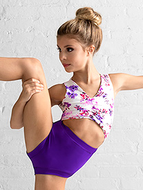 Girls Purple Floral Tank Leotard
