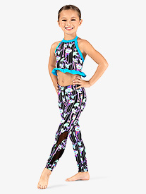 Girls Neon Floral Print Dance Leggings