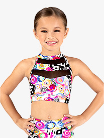 Girls Neon Circles Print Dance Bra Top