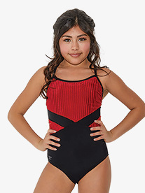 Girls Striped Corduroy Camisole Leotard