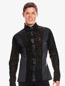 Mens Velvet Insert Long Sleeve Ballroom Top