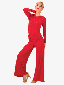 Womens Straight Leg Yoga Ballroom Pants