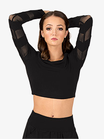 Womens Mesh Stripe Long Sleeve Dance Crop Top