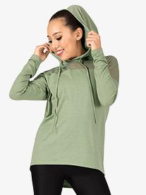 Womens Mesh Yoke Hooded Dance Sweater
