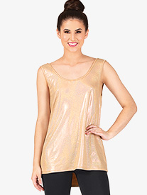 Womens Metallic Cowl Back Dance Tank Top
