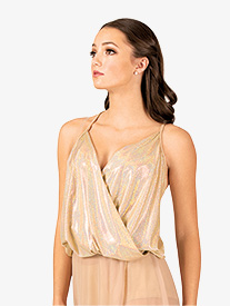 Womens Metallic Wrap Front Dance Camisole Top