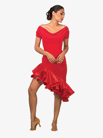 Womens Short Asymmetrical Ballroom Skirt