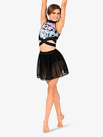Womens Performance Ribbon Trimmed Mesh Skirt