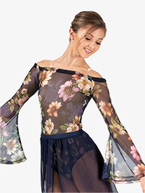 Womens Performance Floral Mesh Long Sleeve Bodysuit