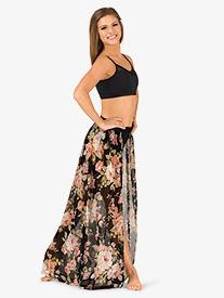 Womens Open Front Floral Dance Skirt