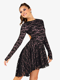 Womens Lace High-Low Long Sleeve Performance Dress