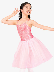 Girls Sequined Lace Camisole Performance Tutu Dress