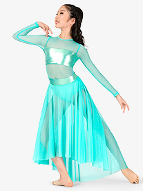 Girls Long Sleeve Metallic Mesh High-Low Lyrical Dress