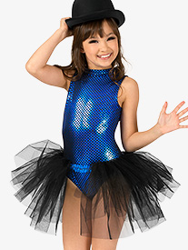 Girls Blue Bayou Bustled Performance Leotard