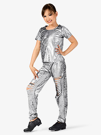 Girls Metallic Foil 2-Piece Hip Hop Set