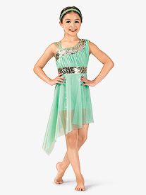Girls Performance Asymmetrical Glitter Mesh Dress