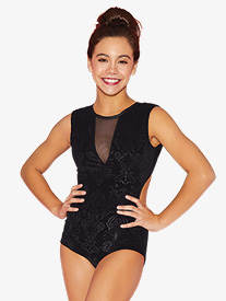 Girls Embossed Velvet Tank Leotard
