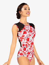 Womens Floral Mesh Cap Sleeve Leotard