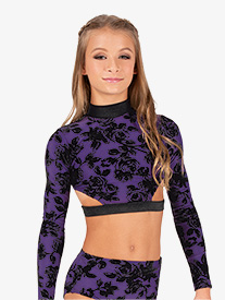 Girls Burnout Velvet Strappy Back Long Sleeve Dance Crop Top