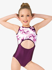 Girls Floral Front Cutout Tank Leotard