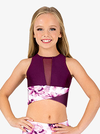 Girls Floral Two-Tone Tank Dance Crop Top