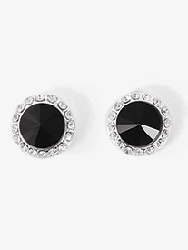 10mm Post Black Stone Earrings