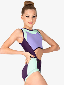 Womens Colorblock Cutout Tank Leotard