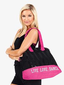Live Love Dance Sequin Tote Bag
