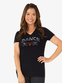Womens Rhinestone Dance Mom T-Shirt
