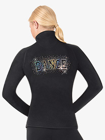 Womens Half Zipper Sequin Dance Pullover Jacket