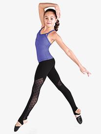Girls Diamond Heart Mesh Stirrup Dance Leggings