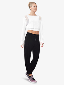 Womens Mesh Panel Pull-On Dance Sweatpants