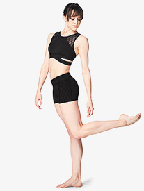 Womens Diamond Mesh Dance Shorts