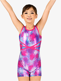 Girls Gymnastics Blurred Floral Tank Shorty Unitard