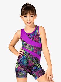 Girls Gymnastics Electric Roses Tank Shorty Unitard