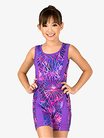 Girls Gymnastics Electric Geometry Print Shorty Unitard