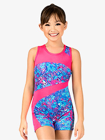 Girls Gymnastics Spring Floral Print Tank Shorty Unitard