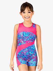 Girls Gymnastics Spring Floral Print Tank Shorty Unitard
