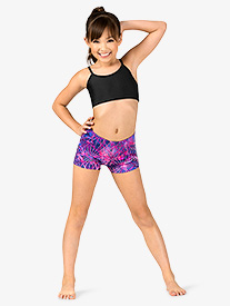 Girls Gymnastics Electric Geometry Print Shorts
