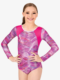 Girls Sound Wave Long Sleeve Leotard