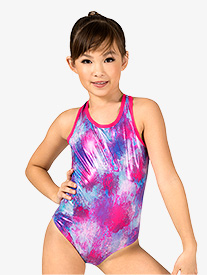 Girls Gymnastics Blurred Floral Tank Leotard