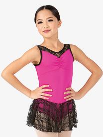 Girls Flower Lace Tank Ballet Dress