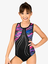 Girls Gymnastics Foil Dots and Streaks Tank Leotard