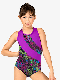 Girls Gymnastics Electric Roses Crisscross Tank Leotard