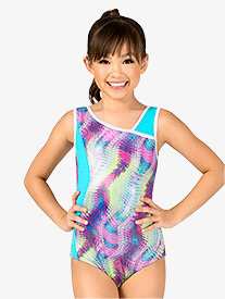 Girls Gymnastics Magic Wave Print Tank Leotard