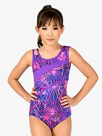 Girls Electric Geometry Print Leotard