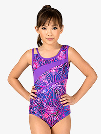Girls Gymnastics Electric Geometry Print Leotard