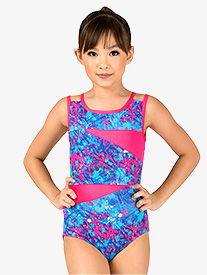 Girls Spring Floral Print Tank Leotard