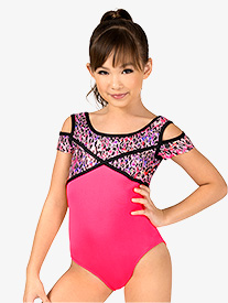 Girls Gymnastics Animal Print Cut Out Cap Sleeve Leotard
