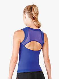Womens Cyra Zipper Front Mesh Open Back Tank Top